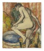 Nude Woman Wiping Herself After The Bath Fleece Blanket