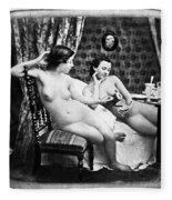 Nudes Having Tea, C1850 Fleece Blanket