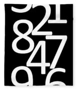 Numbers In Black And White Fleece Blanket