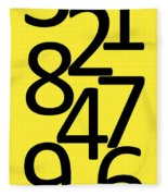 Numbers In Black And Yellow Fleece Blanket