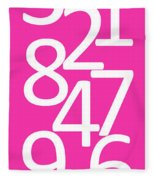 Numbers In Pink And White Fleece Blanket