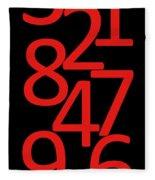 Numbers In Red And Black Fleece Blanket