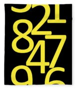 Numbers In Yellow And Black Fleece Blanket