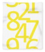 Numbers In Yellow Fleece Blanket