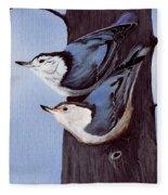 Nuthatch Pair Fleece Blanket