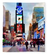 Ny Times Square Impressions IIi Fleece Blanket