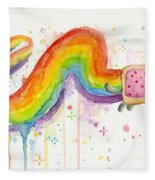 Nyan Cat Watercolor Fleece Blanket