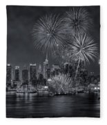 Nyc Celebrate Fleet Week Bw Fleece Blanket