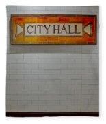 Nyc City Hall Subway Station Fleece Blanket