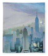 Nyc Morning Blues Fleece Blanket