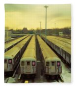 Nyc Subway Cars Fleece Blanket