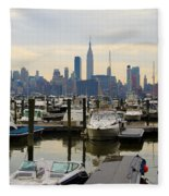 Nyc View From Lincoln Harbor Weehawkin Nj Fleece Blanket