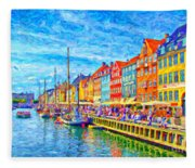 Nyhavn In Denmark Painting Fleece Blanket