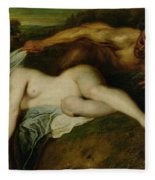 Nymph And Satyr Fleece Blanket