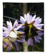 Nymphaea Colorata. Water Lilies Fleece Blanket