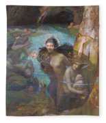 Nymphs At A Grotto Fleece Blanket