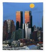 Nyskyline Moonrise At Sundown Fleece Blanket