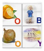O Boy Art Alphabet For Kids Room Fleece Blanket