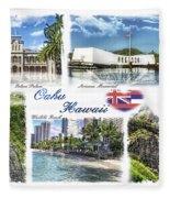 Oahu Postcard 2 Fleece Blanket