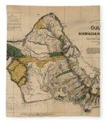 Oahu Sovereign Hawaii Map  1881 Fleece Blanket