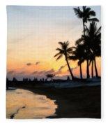 Oahu Sunset Fleece Blanket