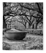 Oak Alley Plantation Landscape In Bw Fleece Blanket