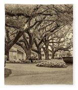 Oak Alley Slave Quarters Sepia Fleece Blanket