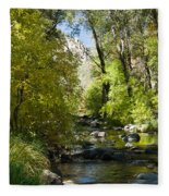 Oak Creek Canyon Creek Arizona Fleece Blanket