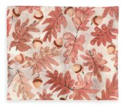 Oak Leaves And Acorns Fleece Blanket