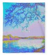 Oak On The Sacramento River - Pastel Fleece Blanket