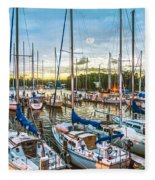 Oak Pt Harbor At Sundown Fleece Blanket