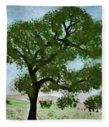 Oak Tree Landscape Fleece Blanket