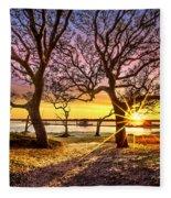Oak Trees At Sunrise Fleece Blanket