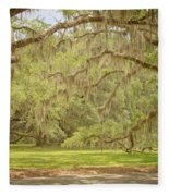 Oak Trees Draped With Spanish Moss Fleece Blanket