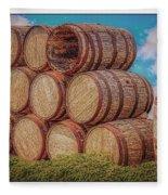 Oak Wine Barrels Fleece Blanket