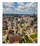 Oakland Pitt Campus With City Of Pittsburgh In The Distance Fleece Blanket