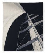 Obsession Sails 5 Black And White Fleece Blanket