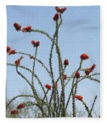 Ocatillo With Red Blossoms Fleece Blanket