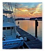 Ocean Addiction Sunset Fleece Blanket