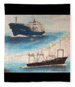 Ocean Phoenix And Excellence Boat Nautical Chart Map Art Fleece Blanket