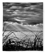 Ocean Rays Black And White Fleece Blanket