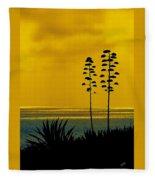 Ocean Sunset With Agave Silhouette Fleece Blanket