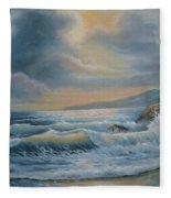Ocean Under The Evening Glow Fleece Blanket