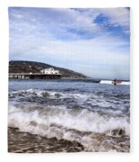 Ocean Waves Blue Sky And A Surfer At Malibu Beach Pier Fleece Blanket