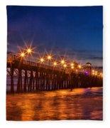 Oceanside Pier Evening Fleece Blanket