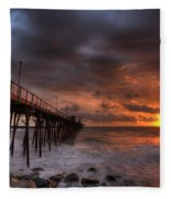 Oceanside Pier Perfect Sunset Fleece Blanket