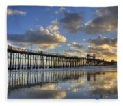 Oceanside Pier Sunset Reflection Fleece Blanket