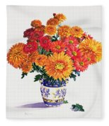 October Chrysanthemums Fleece Blanket