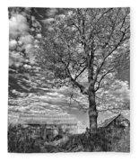 October Evening Monochrome Fleece Blanket