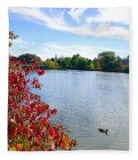October On The Lake Fleece Blanket